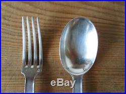 1 cuillère 1 fourchette couvert argent massif Minerve Art Déco monogramme RG GR