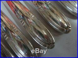 12 COUTEAUX DE TABLE ART DECO en métal argenté état brillant- 1291