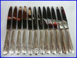 12 COUTEAUX DE TABLE ART DECO en métal argenté état brillant- 1776