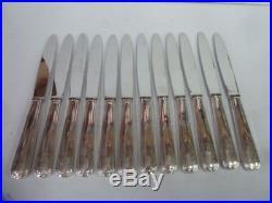 12 COUTEAUX DE TABLE ART DECO en métal argenté état brillant- 1878