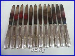 12 COUTEAUX DE TABLE ART DECO en métal argenté état brillant- 915