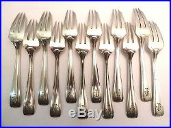 12 Fourchettes à gateaux-Dessert. Argent Massif MINERVE 338gr Art Déco. LAPPARRA
