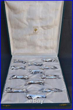 12 Portes Couteaux Christofle Gallia Sandoz Metal Argente 1930 Art Deco