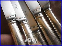 12 couteaux (6+6) argent fourré Art déco Tétard Frères -en l'état, à restaurer