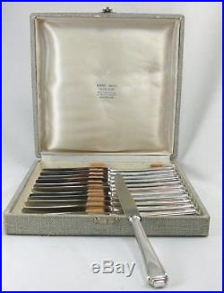 12 couteaux à dessert/fromage, argent massif 17,5 cm, Allemagne Art Déco, écrin