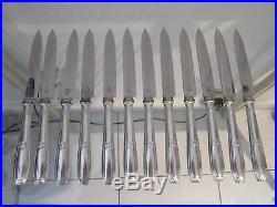12 couteaux à dessert metal argente art deco Ercuis Sphinx 18,5cm dessert knives