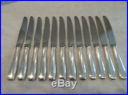 12 couteaux de table metal argente Ercuis Senlis art deco dinner knives