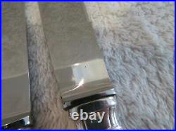 12 couteaux de table metal argente (dinner knives) LG art deco v69