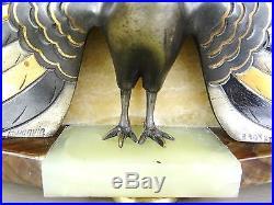 1920/1930 Fh Danvin Pendule Garniture Sculpture Art Deco Bronze Dore Argent Paon