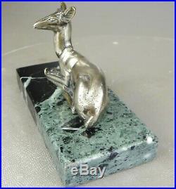 1920/1930 G. Lavroff Statue Sculpture Animaliere Art Deco Bronze Argente Biche