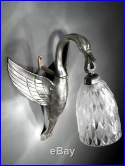 1920-30 France Applique Échassier Bronze Argenté Verre Pressé-moulé Art Déco