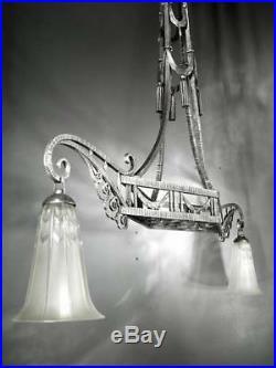 1920-30 Lorrain Daum Et Cie Et P. Kiss Lustre Monumental En Fer Forgé Art Déco