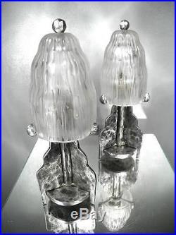 1920-30 M. E. Sabino Paire De Lampes Fer Forgé Et Verre Pressé-moulé Art Déco