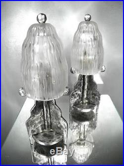 1920-30 M. E. Sabino Paire De Lampes Fer Forgé Et Verre Pressé-moulé Art Déco (1)