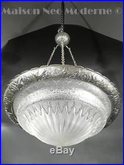 1925 Ch. Schneider Lustre D'entrée Bronze Argenté Et Verre Pressé-moulé Art Déco