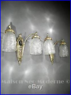 1925 Ch. Schneider Paire D'appliques Bronze Miroir Verre Pressé-moulé Art Déco