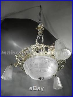 1925 Muller Frères Grand Lustre En Bronze Nickelé Et Verre Pressé-moulé Art Déco