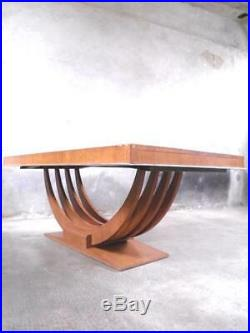 1930 France Table De Salle À Manger En Palissandre Et Bronze Nickelé Art Déco