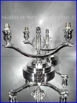 1930 J. Adnet Paire De Lampes Candélabres Moderniste Bronze Et Verre Art Déco