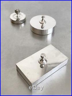 1970 Christian Dior Boite Art-deco Moderniste Cubiste Metal Argente Shabby-chic