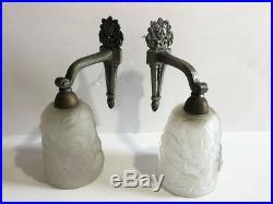 2 anciennes appliques Art Déco bronze argenté tulipes verre pressé An 30's 40's
