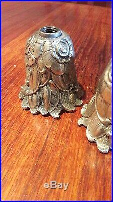 3 cache-douilles modernistes Art Deco, bronze argenté, 1930 chandelier