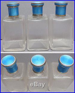 3 flacon à parfum ARGENT massif + émail ART DECO 1920 S. T DUPONT silver bottle