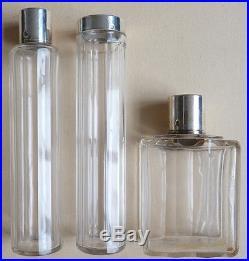 3 flacons à parfum bouchon en argent massif + cristal ART DECO silver