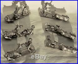 6 Porte Couteaux + 6 Porte Menus Bronze Argente Apollo Christofle