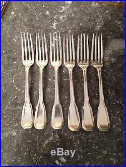 6 fourchettes de table, Art Déco, Argent massif