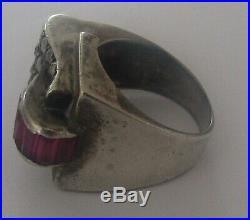 ANCIENNE BAGUE TANK EN ARGENT MASSIF grenats 1925 ART DECO TAILLE 49