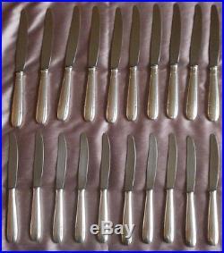APOLLONOX 20 Couteaux art déco années 30 métal argenté (10 table & 10 fromage)
