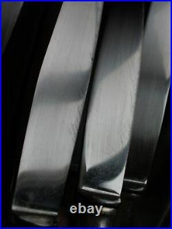 APOLLONOX 24 couteaux Art Déco en métal argenté 12 de table + 12 à fromage