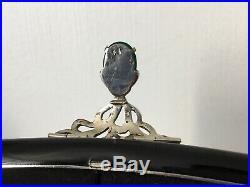ART DÉCO 1920 Sac De Soirée Argent Massif Laque Noire Cabochons de Jade Cartier