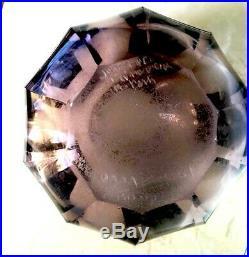 ART DECO GLASS vase verre violet decor argent signe circa 1930