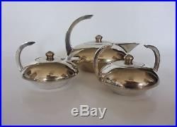 ART DECO MODERNISTE SERVICE A THE/CAFE 3 pièces métal argenté vers 1930