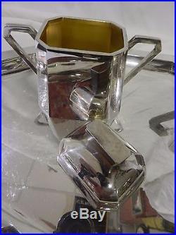 ART DECO. SERVICE A CAFE ET THE. Métal argenté, bois ébène. (4 pièces+plateau)