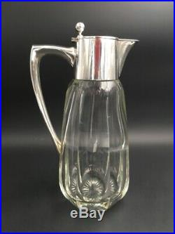 Aiguière cristal Baccarat argent Hallberg Art Déco Crystal silver carafe Sweden