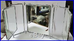 Ancien MIROIR DE BARBIER triptyque BISEAUTE Art Déco old barber mirror