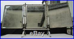 Sur Pied Barbier Coiffeur Ancien Miroir Art Nouveau Triptyque Metal 54AjLR3q
