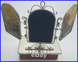 Ancien Rare Miroir Triptyque Vénitien Art Déco Coiffeuse Tiroir Antique Mirror