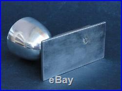 Ancien coquetier art déco moderniste en métal argenté et ébène de macassar