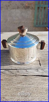 Ancien service à café, thé sur plateau Art déco métal argenté Ercuis