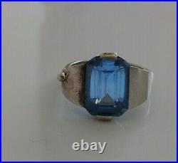 Ancienne Bague argent Topaze Bleu art déco