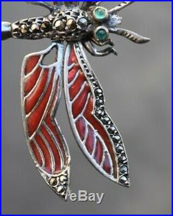 Ancienne Broche Argent Émaillé Art Déco Libellule Enamel Silver Brooch Dragonfly