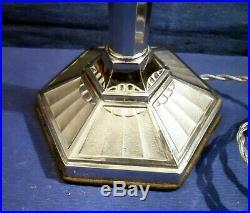 Ancienne Lampe Pirouett Rare Modèle De Collection A Verre Nuagé, Socle Art Deco