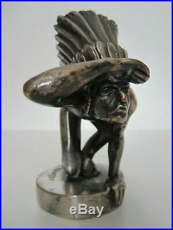Ancienne Mascotte Radiateur Indien Bronze Argente Art Deco Laplagne Automobile