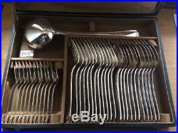 Ancienne Ménagère Christofle Metal Argenté Art Deco 39 Pieces Chevron