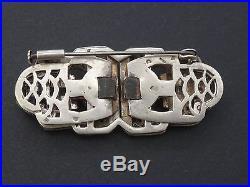 Ancienne broche à systeme en argent massif et strass Art Deco clip de revers