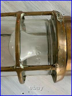 Ancienne paire appliques de marine coursives bateau art signée bronze verre déco